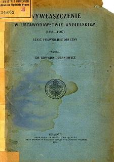 Wywłaszczenie w ustawodawstwie angielskim (1845-1907) : szkic prawno-historyczny