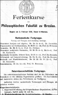 Ferienkurse der Philosophischen Fakultät zu Breslau 1919