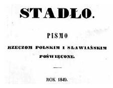 Stadło. Pismo rzeczom polskim i słowiańskim poświęcone. Spis rzeczy. 1849