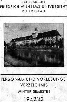 Personal- und Vorlesungs-Verzeichnis Winter-Semester 1942/1943