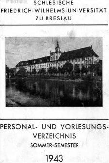 Personal- und Vorlesungs-Verzeichnis Sommer-Semester 1943