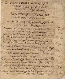Catalogus librorum Bibliothecae Baranoviensis