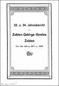 Jahresbericht des Zobten-Gebirgs-Vereins Zobten für das Jahr 1917 und 1918