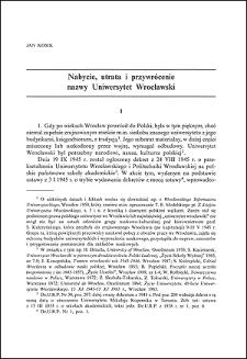 Nabycie, utrata i przywrócenie nazwy Uniwersytet Wrocławski