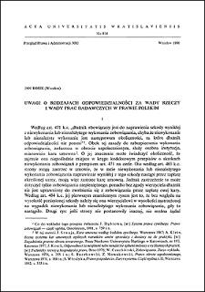 Uwagi o rodzajach odpowiedzialności za wady rzeczy i wady prac badawczych w prawie polskim