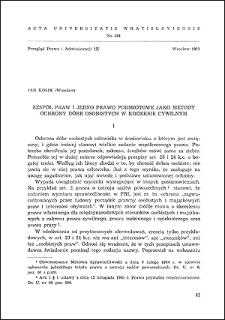 Zespół praw i jedno prawo podmiotowe jako metody ochrony dóbr osobistych w kodeksie cywilnym