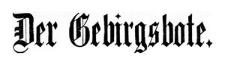 Der Gebirgsbote 1909-01-01 Jg. 61 Nr 1