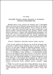 Zdolność prawna osoby prawnej w projekcie kodeksu cywilnego PRL