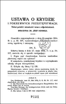 Ustawa o krydzie i pokrewnych przestępstwach : tekst polski i niemiecki wraz z objaśnieniami