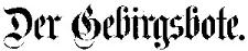 Der Gebirgsbote 1907-01-01 Jg.59 Nr 1