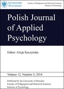 Polish Journal of Applied Psychology Volume 12, Number 3, 2014