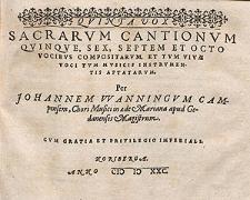 Sacrarum cantionum quinque, sex, septem et octo vocibus [...] Quinta vox