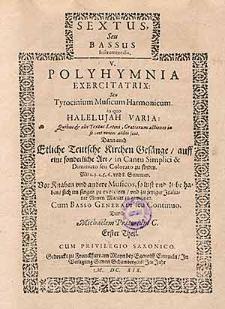 V. Polyhymnia exercitatrix: seu tyrocinum musicum harmonicum [...]