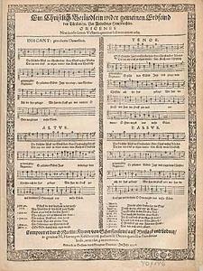 Ein Christlich Betliedlein wider gemeinen Erbfeind den Türcken [...] / Componiret durch Martin. Kinner von Scherffenstein [...] in gratiam M. Hieronymi Koschwitzij pastoris & Decani quondam Freudentalensis, amici sui, piæ memoriæ.