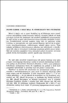 Prawo karne i jego rola w stosunkach wsi feudalnej