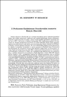 Z profesorem Kazimierzem Orzechowskim rozmawia Henryk Olszewski
