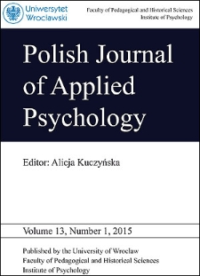 Polish Journal of Applied Psychology Volume 13, Number 1, 2015