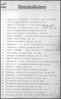 """[Katalog dawnej Biblioteki Miejskiej: """"Grenzlandbücherei""""]"""