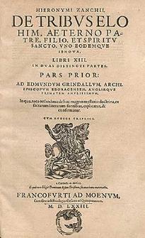 De tribus Elohim: aeterno Patre, Filio et Spiritu Sancto, uno eodemque Iehova, libri XIII : in duas distincti partes. P. prior [-altera] [...].