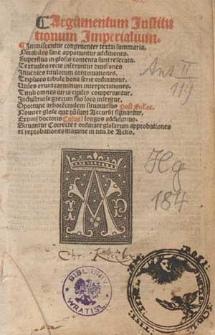 Argumentum Jnstitutionum Jmperialium : Jmmiscentur congruenter textui summaria [...] / [Ed. Johannes Chapuis].