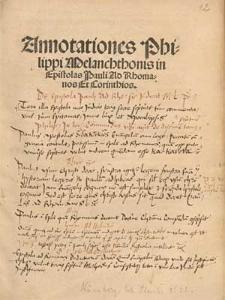 Annotationes Philippi Melanchthonis in Epistolas Pauli Ad Rhomanos Et Corinthios