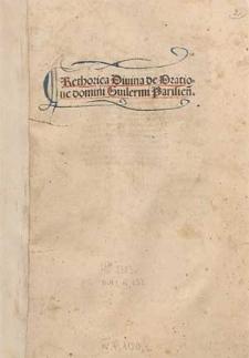 Rethorica divina de oratione domini Guilermi Parisiensis