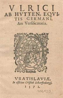 Vlrici Ab Hvtten, Eqvitis Germani, Ars Versificatoria