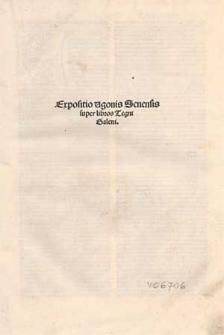Expositio Ugonis Senensis super libros Tegni Galeni.