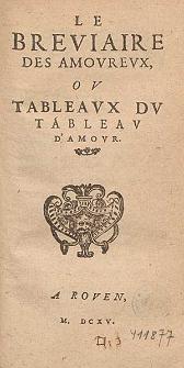 Le Breviaire Des Amourevx, Ov Tableavx Dv Tableav D'Amovr.