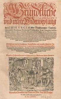 Gründtliche und rechte Underweysung der Chirurgiae oder Wundartzney, nemlich von allerley Apostemen, Peulen und Geschwulsten, item von allen frischen Wunden und alten offenen Schäden [...] / Erstlich von [...] Johanne Tagaultio [...] und Jacobo Hollerio [...] in lateinischer Sprach beschrieben ; nunmals aber [...] verdeutscht [...] und [...] in Druck verfertigt [...] durch Gregorium Zechendorffern [...]