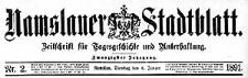 Namslauer Stadtblatt. Zeitschrift für Tagesgeschichte und Unterhaltung 1891-01-06 Jg.20 Nr 2