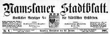 Namslauer Stadtblatt. Amtlicher Anzeiger für die städtischen Behörden. 1907-09-14 Jg.36 Nr 72