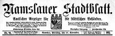 Namslauer Stadtblatt. Amtlicher Anzeiger für die städtischen Behörden. 1911-10-28 Jg.40 Nr 84