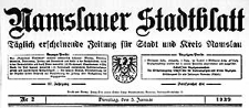 Namslauer Stadtblatt. Täglich erscheinende Zeitung für Stadt und Kreis Namslau. 1939-01-14/15 Jg.67 Nr 12
