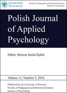 Polish Journal of Applied Psychology Volume 14, Number 3, 2016
