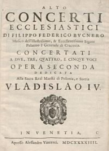Concerti ecclesiastici [...] a due, tre, quattro, e cinque voci opera seconda [...]