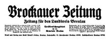 Brockauer Zeitung. Zeitung für den Landkreis Breslau 1938-01-01 Jg. 38 Nr 1