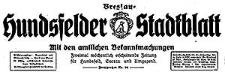 Hundsfelder Stadtblatt. Mit den amtlichen Bekanntmachungen 1930-10-29 Jg. 26 Nr 87