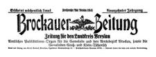 Brockauer Zeitung. Zeitung für den Landkreis Breslau 1919-09-14 Jg. 19 Nr 108