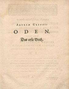 Oden. Das erste Buch.