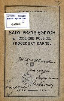Sądy przysięgłych w kodeksie polskiej procedury karnej