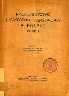 Rachunkowość i kasowość państwowa w Polsce do 1925 r.
