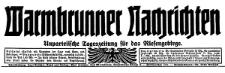 Warmbrunner Nachrichten. Unparteiische Tageszeitung für das Riesengebirge 1926-06-26 Jg. 45 Nr 147