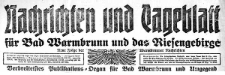 Nachrichten und Tageblatt für Bad Warmbrunn und das Riesengebirge. Neue Folge der Warmbrunner Nachrichten 1920-08-06 Jg. 38 Nr 183