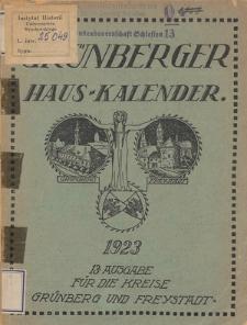 Grünberger Hauskalender: Heimatkalender auf das Jahr 1923 für die Kreise Grünberg und Freystadt