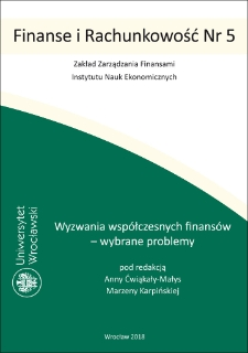 Challenges of contemporary finance – selected problems