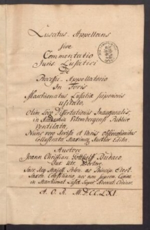 Lusatus appellans sive Commentatio Juris Lusatici de processu appellatorio