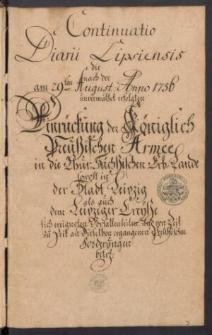 Diarium Lipsiense. Vol. VII
