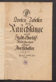 Quoten-Tabellen ueber die Rauchfaenge der zur Stadt Goerlitz Mitleidenheit gehoerigen Dorffschaften