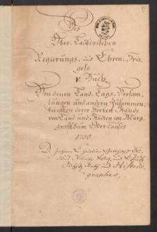 Des Ober-Lausitzischen Regierungs- und Ehren-Spiegels. Band V